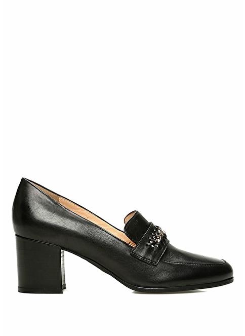 Beymen Collection Kalın Topuklu Deri Ayakkabı Siyah